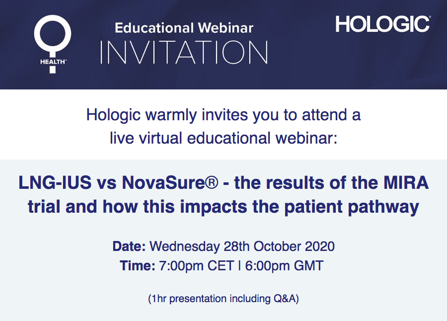 LNG-IUS vs NovaSure® – The results of the MIRA trial and how this impacts the patient pathway